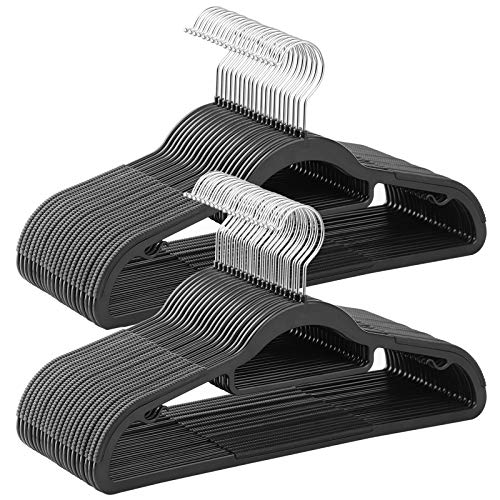 """SONGMICS Pack of 50 Coat Hangers Heavy-Duty Plastic Hangers with Non-Slip Design Space-Saving Clothes Hangers 02"""" Thickness 360° Swivel Hook 165"""" Long Black and Gray"""