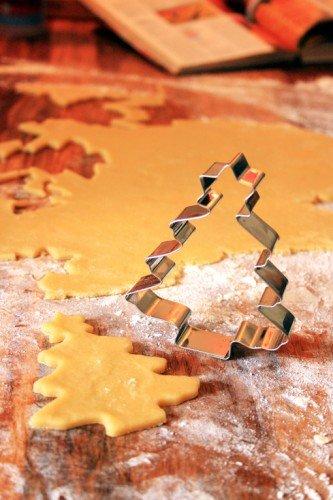Stampini per Biscotti a Forma di Albero di Natale con Stella, Argento, 11cm