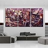 IILSZMT Cuadros Modernos Impresión De Imagen Artística Lienzo Decorativo para Salón Dormitorio 3 Piezas Sword Art Online Anime 30Cmx50Cm