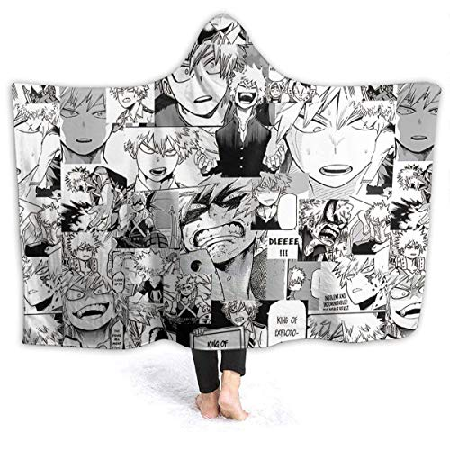 Lawenp Bakugou No Hero Academia Hooded Blanket Sherpa Throw Lightweight Couch Air Conditioning Soogan Warm Aircraft Towelling Coverlet for All Seasons 60'X50' for Teens