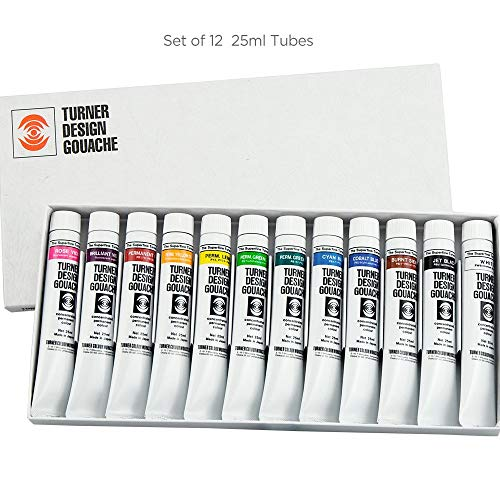 Turner Colour Works Watercolor Paint Set - Design Gouache Premier Opaque Watercolor Paint - 25 ml Tubes - Set of 12 Assorted Colors