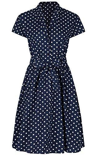 Love Camden Robe chemise trapèze ceinturée style rétro années 1940 Bleu marine à pois - Bleu - 38