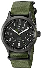 Adjustable green 20 millimeter nylon strap fits up to 8-inch wrist circumference Black dial with date window at 3 o'clock; Full Arabic numerals Black 40 millimeter brass case with mineral glass crystal Indiglo light-up watch dial; Luminous hands Wate...