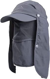 JSBelle Sombreros de Pesca de Sol, Gorra de Pesca de protección Solar al Aire Libre con Solapa de Cuello extraíble y máscara de Cubierta Facial