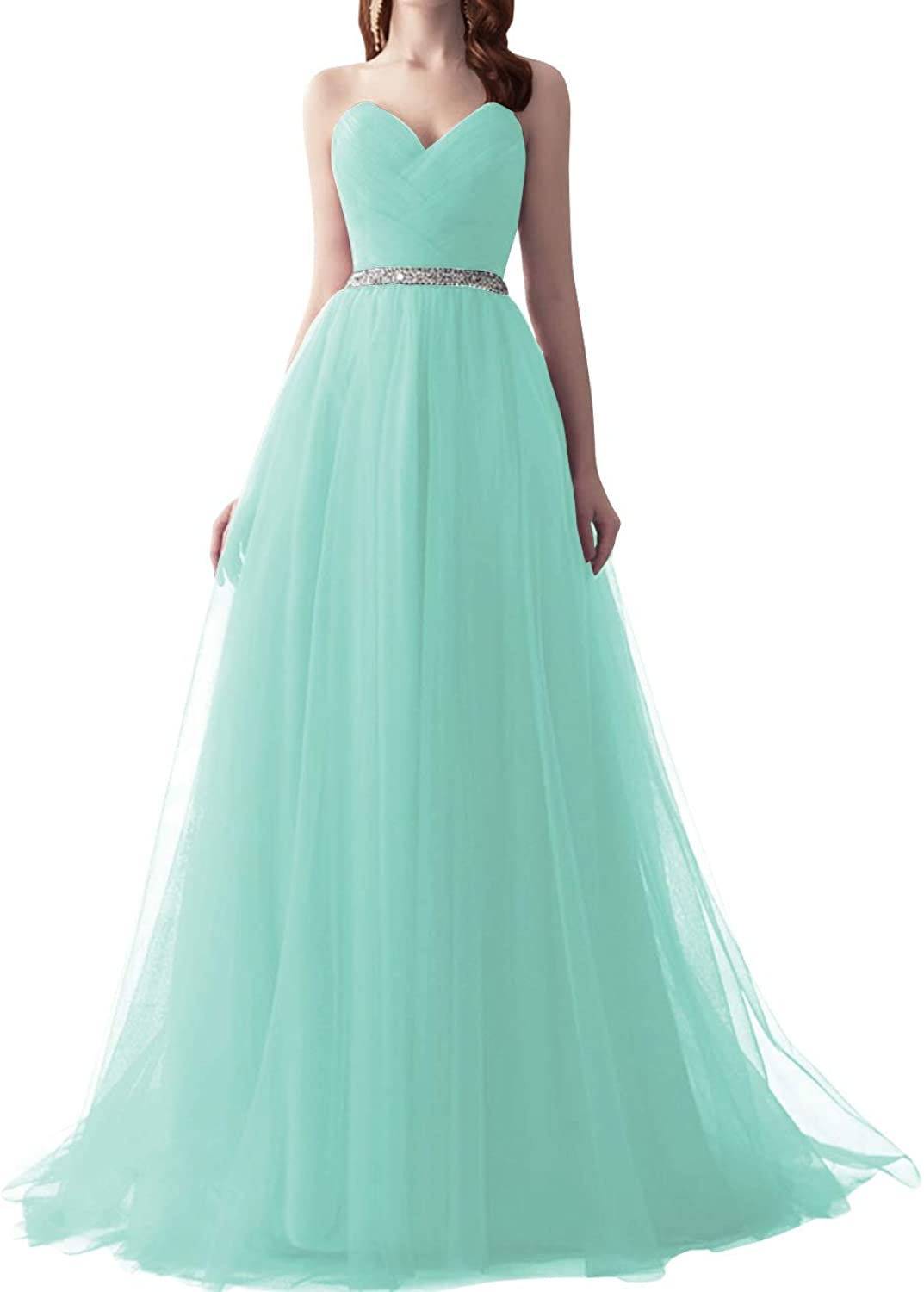 SUNFURA Women's Lace up Beaded Sweetheart Long Tulle Prom Evening Party Dress