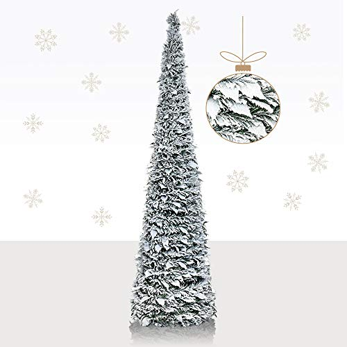 YuQi 5Ft Snow Flocked Artificial Pencil Christmas Tree,Collapsible Pencil Christmas Trees for Apartments,Dorm Rooms,Fireplace or Party(Christmas)