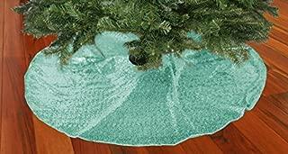 TRLYC Glittery Sequin Holiday Tree Skirt, 48-Inch Mint Christmas Tree Skirt