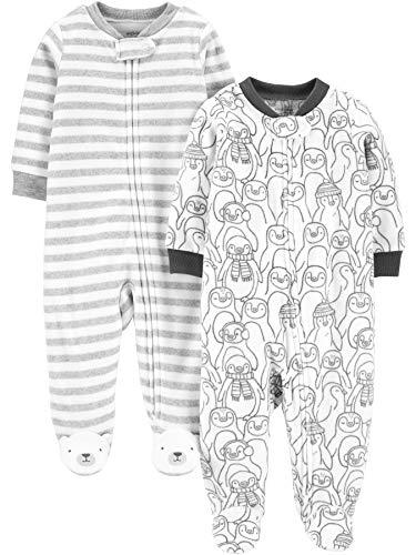 Simple Joys by Carter's 2-Pack Fleece Footed Sleep and Play Baby-und Kleinkindschläfer, Pinguin/Streifen, 0-3 Monate, 2er-Pack