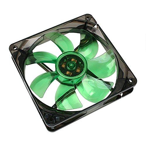 Cooltek 200400206 Silent Fan 120 Green LED, 120mm x 120mm x 25mm Lüfter, Rifle-Bearing, 16 dBA, 1.200 U/min, 107,9 m³/h, 3-Pin Molex Anschluss, LED Beleuchtung, Grün