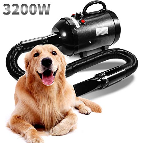 AIIYME Dog Dryer, 3200W/3.2HP Motor Stepless Adjustable Speed Dog Hair Dryer Pet Hair Force Dryer Pet Dog Grooming Dryer Blower with Heater, Professional High Velocity Air Forced Dryer for Dogs