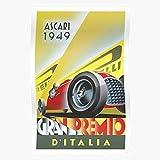 US209PT Grand Gp Art Race Emilio Vintage Italian Autodromo Prix Deco Moto Di Monza Saluzzi Car Ascari, for Home Decor Wall Art Print Poster