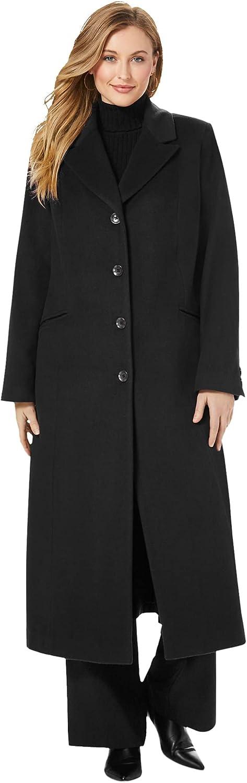 Jessica London Women's Plus Size Full Length Wool Blend Coat