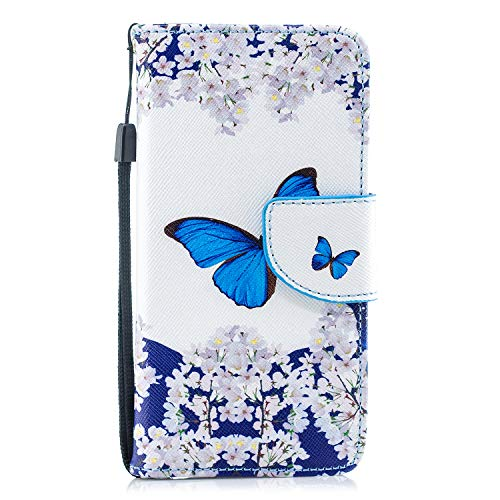 Herbests Coque iPhone 7/iPhone 8 Housse Etui en Cuir Coque à Rabat Magnétique Housse Etui de Protection avec Dragonne étui en Cuir avec Motif en Relief Panda Papillon,Papillon