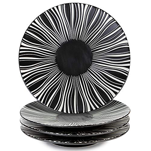 MARSTRACE 825 Inch Ceramic Dessert PlatesBlack and White Striped Plates with Pattern for Salad Sandwiches Set of 4Microwave Dishwasher Safe