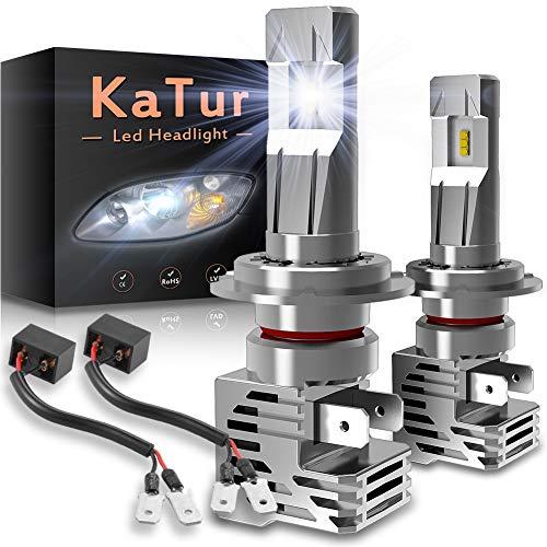KATUR H7 Bombillas led Faros Extremadamente Brillantes 10000LM Chips ZES 1: 1 Diseño Kit de conversión de Faros Todo en uno de Alta Potencia 55W 6500K Xenón Blanco-2 años de garantía