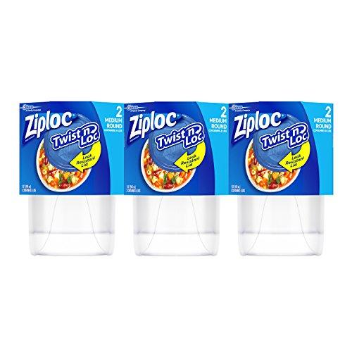 Ziploc Twist 'n Loc, Storage Containers for Food, Medium Round