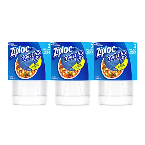 Ziploc Twist 'n Loc, Storage Containers for Food, Travel and Organization, Dishwasher Safe, Medium Round, 2 Count, Pack of 3 (6 Total Containers)