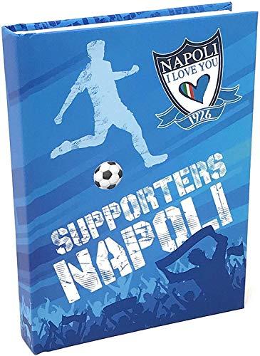 DIARIO Supporters Napoli Ti Amo i Love You Calcio Bianco Azzurro 2019-2020 + Omaggio portachiave Fischietto
