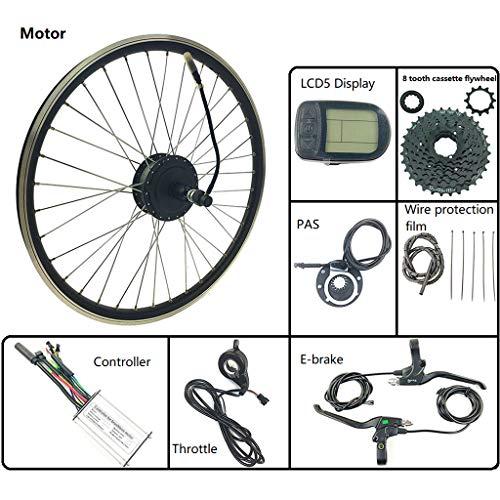 GGD Kit de conversión de Bicicleta 48V 250W Rueda Trasera del Motor Motor de Bicicleta eléctrica con Pantalla LCD5 Accesorios para Bicicleta eléctrica Instalación fácil,16inch LCD Sets