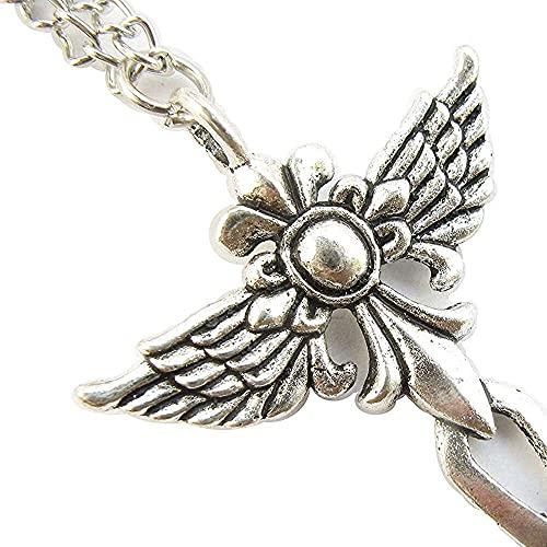 chaosong shop Collar con alas de cruz, símbolo de ángel, bohemio, gótico pastel, hippie, ec