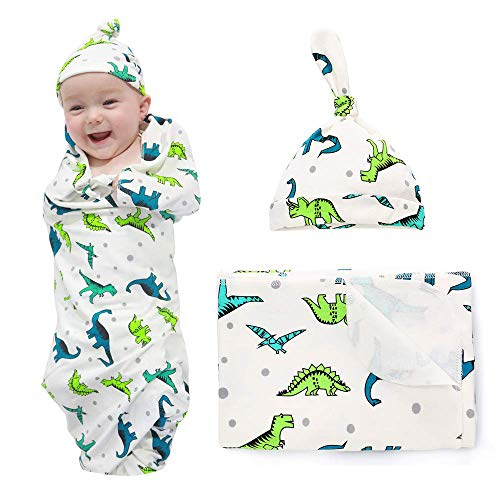 Newborn Baby Swaddle Blankets Sets 2-Pack Infant Boy Girls Receiving Blankets Sacks Beanie Blankets Wraps Baby Registry Gifts 0-6 M Dinosaur