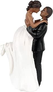Riverbyland Groom Lift Bride African American Wedding Cake Topper
