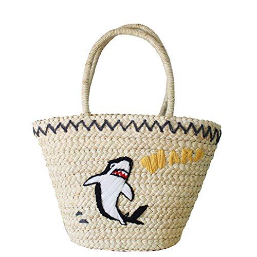 fairysan Simplism da donna grande e elegante borsa a spalla–borsa da spiaggia con grandi fiori in paglia