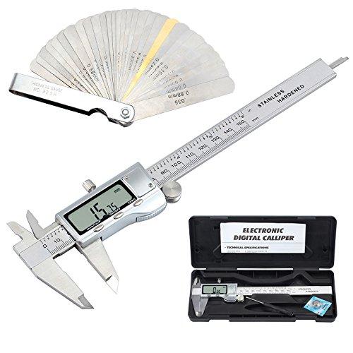 eSynic Digital Vernier Caliper + Feeler Gauge 150mm/6Inch Stainless Steel Electronic Caliper Fractions/Inch/Metric Conversion Measuring Tool for Length Width Depth Step Inner Diameter Outer Diameter