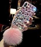 i phone 5 case gems - Losin Gemstone Case for iPhone X/iPhone Xs Fashion Luxury Bling Diamond Gemstone Cute Fuzzy Furry Plush Fluffy Fur Ball Pendant Soft TPU Back case
