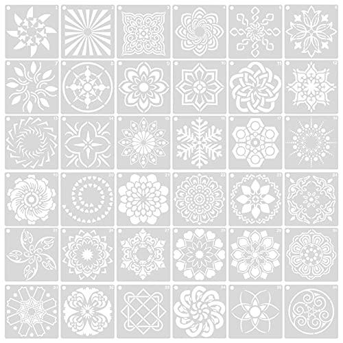 Changrongsheng 36 Pzs Plantillas de Mandala Plantillas de Dibujo Reutilizables Stencil Mandala Plantilla de Pintura Plastico Plantillas de Mandala para Pintar Scrapbook Pared Arte Decoración, 9 x 9 cm