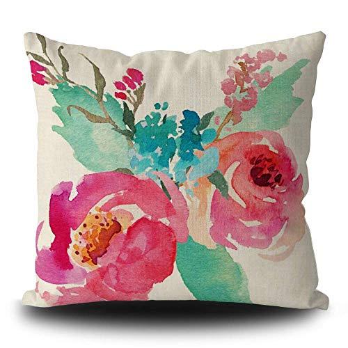 Funda de almohada de acuarela peonías rosa turquesa ramo de verano decorativo para decoración del hogar cuadrado 45,7 x 45,7 cm