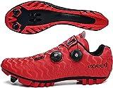 AGYE Zapatillas de Ciclismo, Calzado de Ciclismo para Hombre,Zapatos de Bicicleta Mountain Lock para Mujer,Calzado de Bicicleta MTB para Montar,Red-45