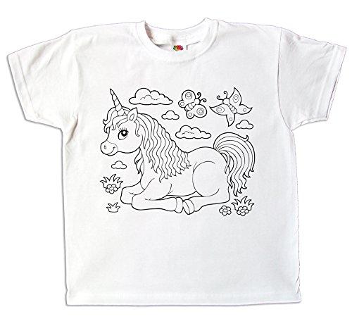 Kinder T-Shirt Einhorn für Mädchen zum bemalen und ausmalen mit Vordruck zum Kindergeburtstag kreatives Spiel und Geschenk (140)