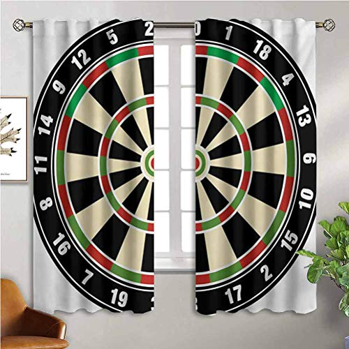 Sports Soundproof Curtains Dart Board Numbers Sports Accuracy Precision Target Leisure Time Graphic 52Wx45L Inch Print Blackout Curtains Thermal Insulated