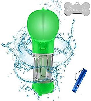 RCRunning-EU Bouteille deau pour Chien 300ml,Distributeur deau Portable Gourde avec Sac fécal et Pelle à ordures pour Chien Chiot Chat Animaux Voyage Water Drink Bouteille Vert