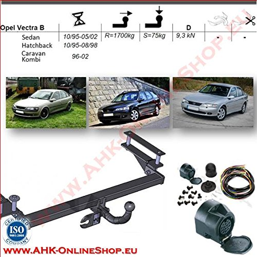 AHK Anhängerkupplung mit Elektrosatz 13 polig für Opel Vectra B 1995-1998 Schrägheck Kombi Stufenheck Anhängevorrichtung Hängevorrichtung - starr, mit angeschraubtem Kugelkopf