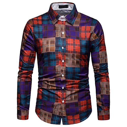 Lowest Prices! Lattice Plaid Painting Top Men Long Sleeve Patchwork Large Size Blouse Shirts
