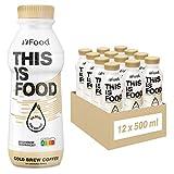 YFood Coffee | Batido Sustitutivo | Sustitutivo de comida sin lactosa ni gluten | 33g de proteínas, 26 vitaminas y minerales | 25% de las calorías diarias requeridas | 12 x 500 ml (1kcal/ml)