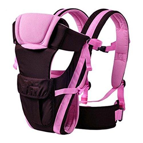 Qiorange Babytrage, Bauch-, Rücken- und Hüfttrage, 4 Tragpositionen (3-18KG, 0-30 Monate) (Pink)