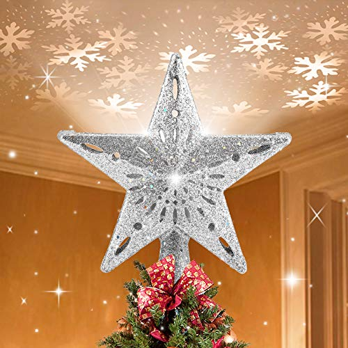 BLOOMWIN Christmas Tree Topper Lighted with Snowflake Projector, LED Rotating Hollow Snowflake, 3D Glitter Lighted Sliver Snow Tree Topper for Christmas Xmas Tree Decorations Festival Lights (White)