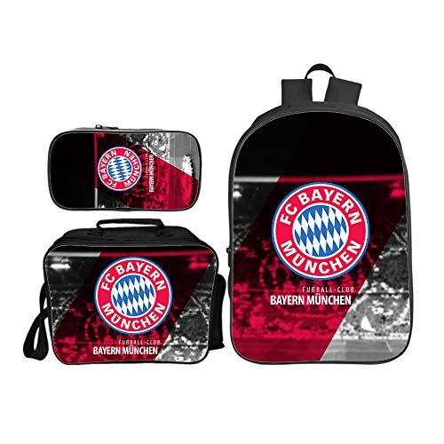 Schulrucksack für Kinder 3D Deutschland FC Druck 16 Zoll Bookbags für Jungen,Rucksack + Umhängetasche + Bleistiftbeutel Set Style Bayern