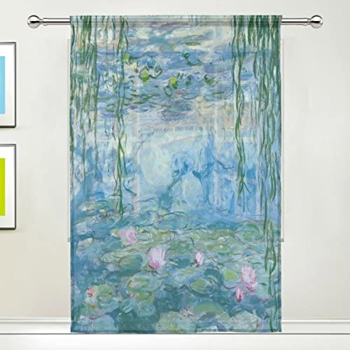 Sheer Curtains Water Lilies by Claude Monet Oil Paintings Flowers Rod Pocket Sheer Voile Window product image