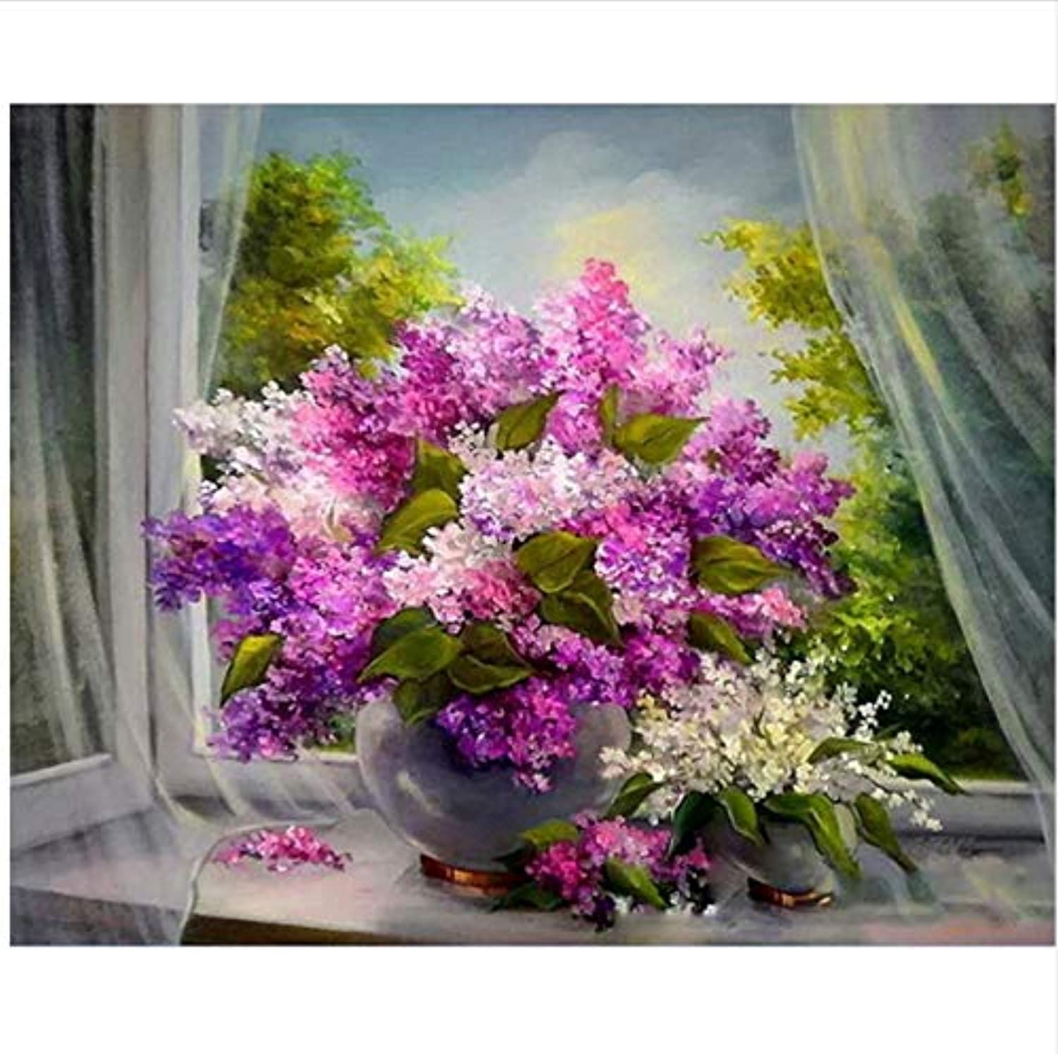 CAYYOU DIY Digital Painting By Numbers Window purple Oil Painting Mural Kits coloring Wall Art Picture Gift  Framed  50x60cm