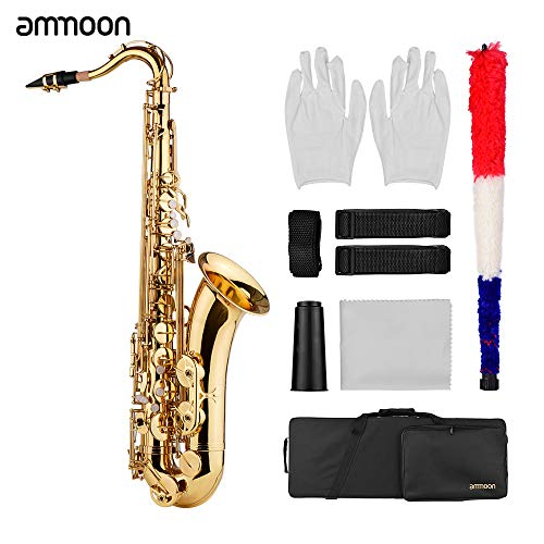 Tenor Saxophone,Entweg Bb Tenor Saxophone Sax Brass Body Gold Lacquered Surface Woodwind Instrument with Carry Case ing Cloth Brush Sax Neck Straps
