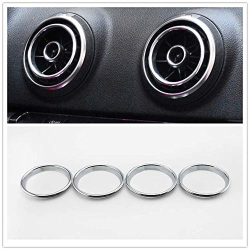 Aluminum Alloy Air Condition Air Vent Outlet Ring Cover Trim Decoration Sticker For AUDI A3 S3 2013-2016/Q2 2017 Accessories,car-styling 4pcs (Silver)