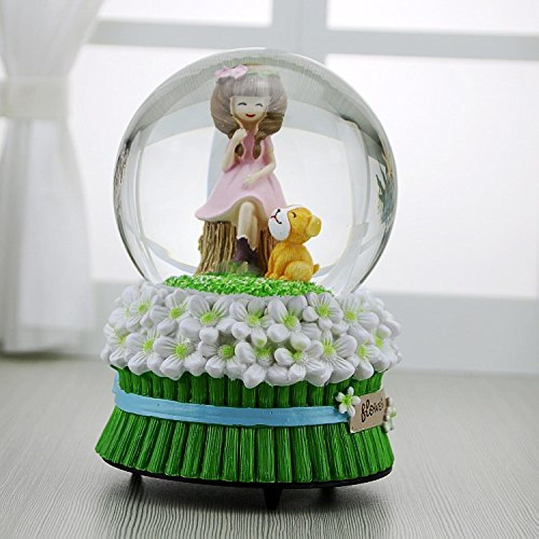 Zhoyea Music Box Creative Cute Pink Dress Girl Snowflake Crystal Ball Music Box for Birthday Gift