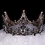Salliy Baroque Crown Black Bridal Crystal Tiara Crown Gothic Wedding Headpiece Vintage Queen Hair Accessories for Women and Girls (Type 3)