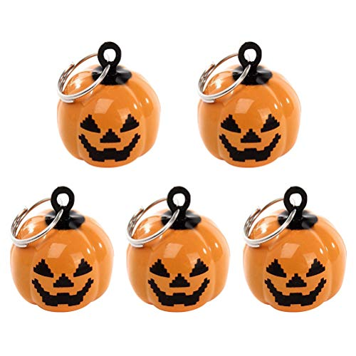 POPETPOP 10pcs Cat Collar Bell Pumpkin Shape Jingle Bells Cartoon Pendant Copper Pet Necklace Accessories for Halloween Decoration (Orange)