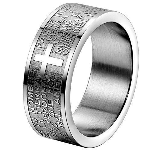 OIDEA Herren Damen Ring Edelstahl Silber, 8mm Polished Bibel Gebet Kreuz Biker Verlobungsringe Trauringe, Größe 65 (62 (19.7))