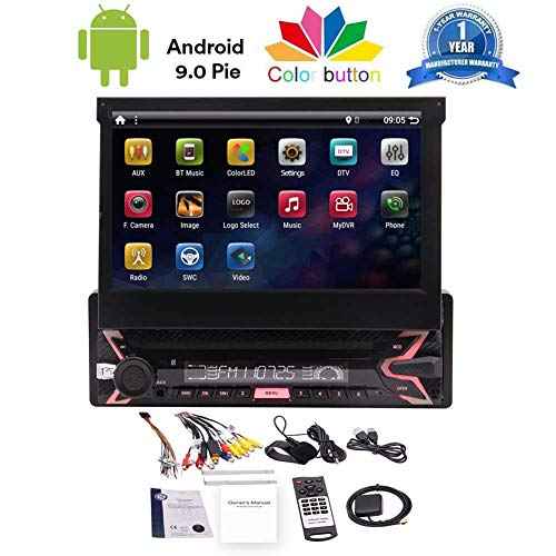 Single Din Touchscreen Car Stereo Android 10.0 Car Radio with Bluetooth 7 inch Detachable Face Panel in Dash GPS Navigation Head Unit 1 Din Video Player WiFi/AM FM Radio/Screen Mirror+External Mic